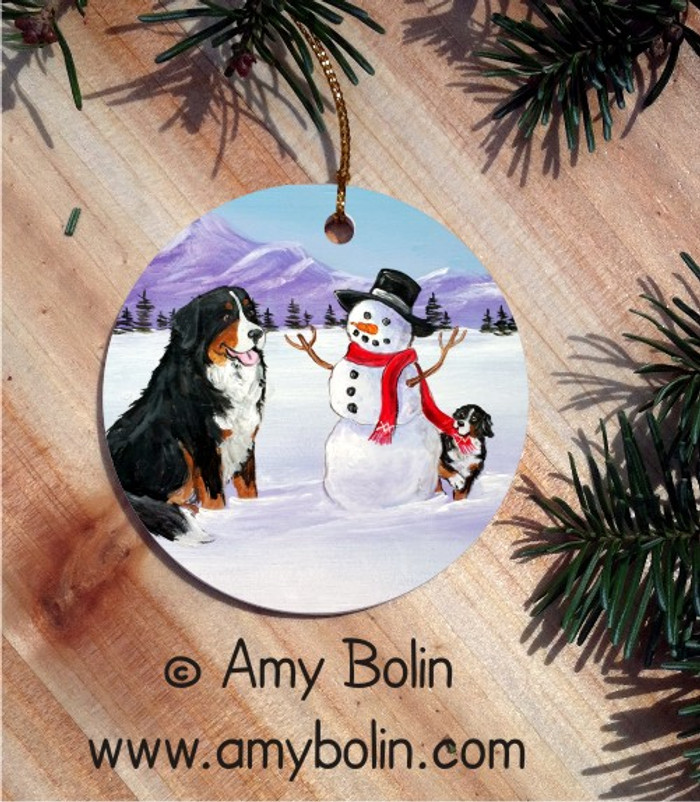 CERAMIC ORNAMENT · OUR SNOWY FRIEND · BERNESE MOUNTAIN DOG · AMY BOLIN