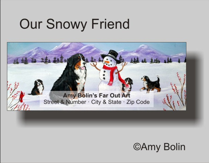 """""""Our Snowy Friend"""" Bernese Mountain Dog Address Labels"""