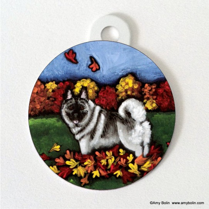DOUBLE SIDED PET ID TAG · CHASING LEAVES · NORWEGIAN ELKHOUND · AMY BOLIN
