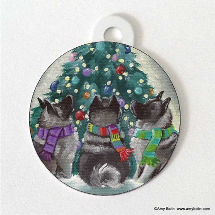 DOUBLE SIDED PET ID TAG · CHRISTMAS TOGETHER · NORWEGIAN ELKHOUND · AMY BOLIN
