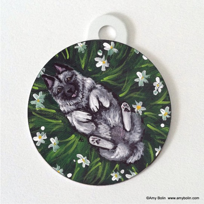 DOUBLE SIDED PET ID TAG · HAPPINESS IS A FIELD OF DAISIES · NORWEGIAN ELKHOUND · AMY BOLIN