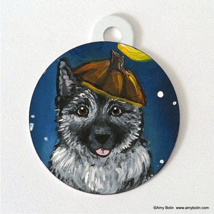 DOUBLE SIDED PET ID TAG · HAPPY HOWLOWEEN · NORWEGIAN ELKHOUND · AMY BOLIN