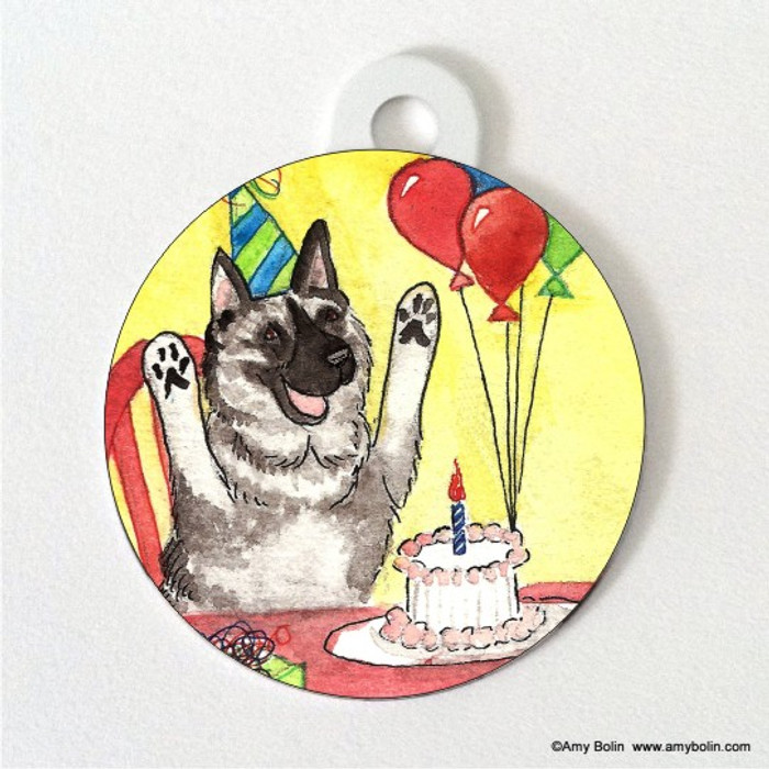 DOUBLE SIDED PET ID TAG · IT'S MY PARTY · NORWEGIAN ELKHOUND · AMY BOLIN