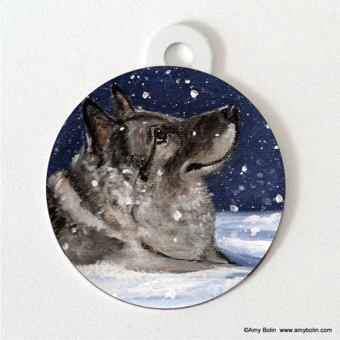 DOUBLE SIDED PET ID TAG · SENJA'S SNOW DAY · NORWEGIAN ELKHOUND · AMY BOLIN