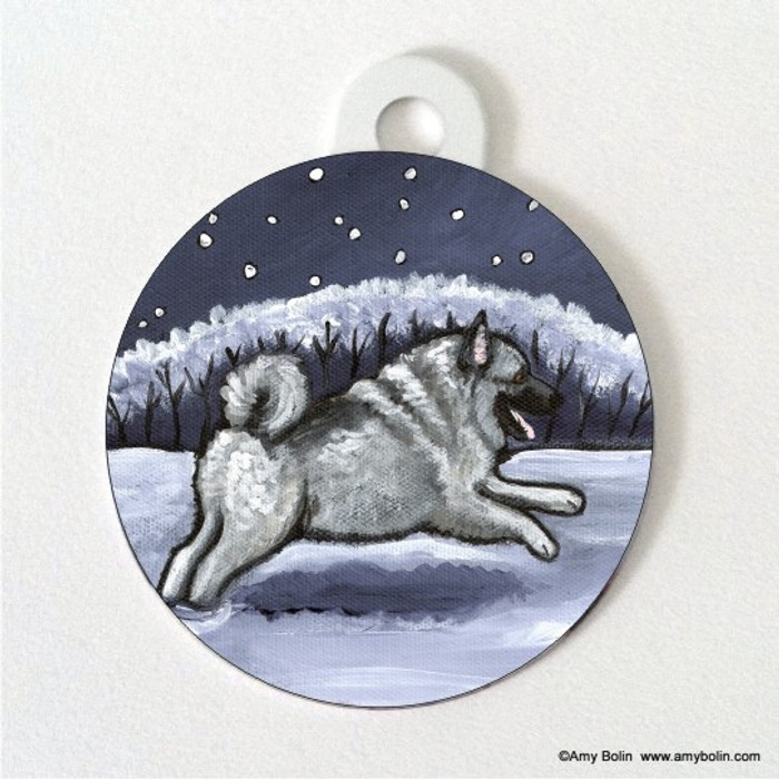 DOUBLE SIDED PET ID TAG · WINTER WONDERLAND · NORWEGIAN ELKHOUND · AMY BOLIN