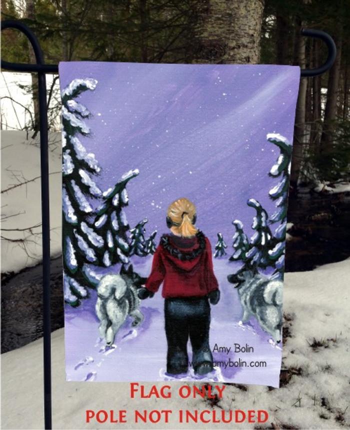 GARDEN FLAG · A SNOWY WALK · NORWEGIAN ELKHOUND · AMY BOLIN