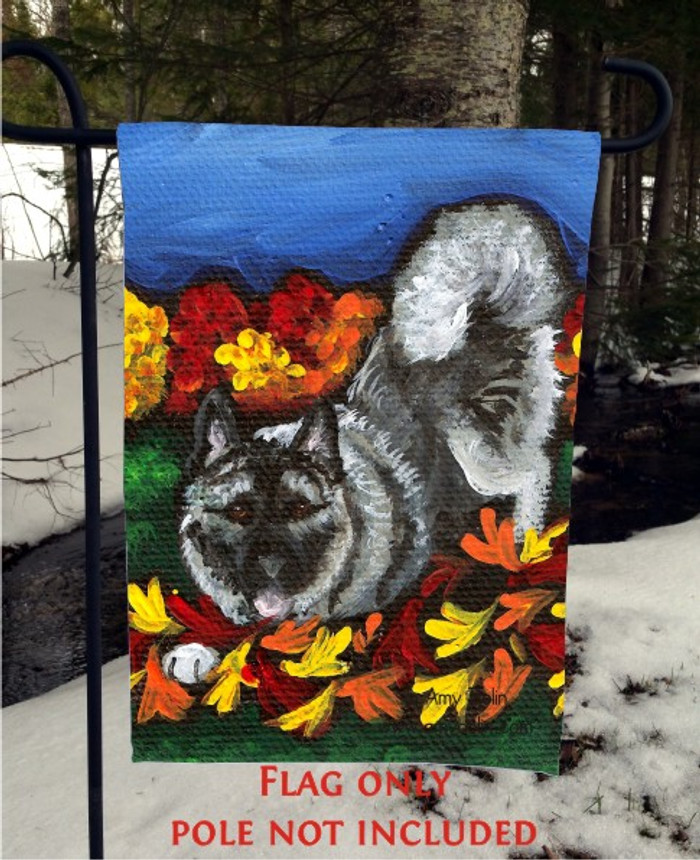 GARDEN FLAG · AUTUMN'S SIMPLE PLEASURES · NORWEGIAN ELKHOUND · AMY BOLIN
