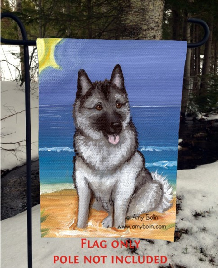 GARDEN FLAG · BEACH BUM · NORWEGIAN ELKHOUND · AMY BOLIN