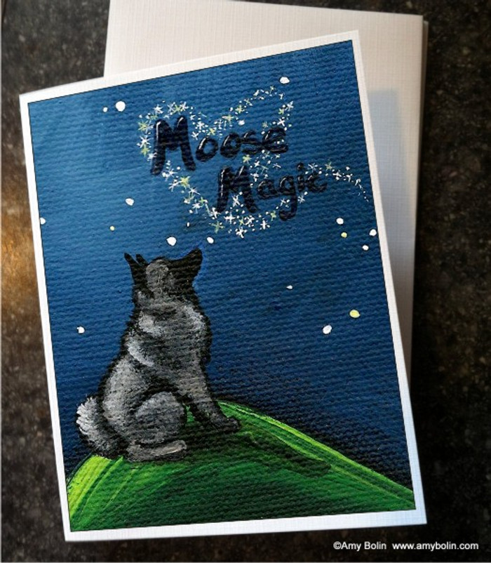 NOTE CARDS · MOOSE MAGIC · NORWEGIAN ELKHOUND · AMY BOLIN