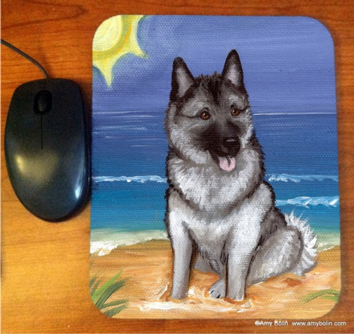 MOUSE PAD · BEACH BUM · NORWEGIAN ELKHOUND · AMY BOLIN