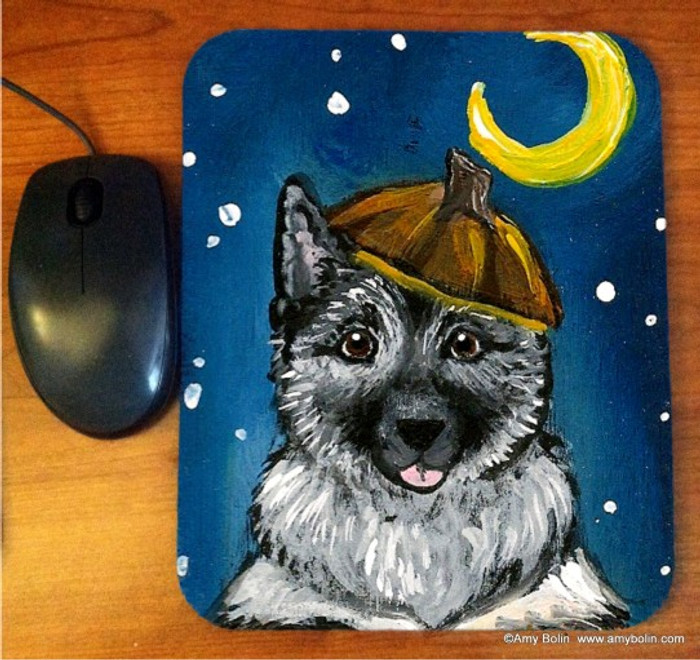 MOUSE PAD · HAPPY HOWLOWEEN · NORWEGIAN ELKHOUND · AMY BOLIN