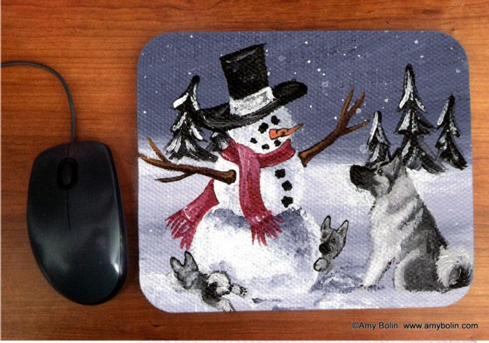 MOUSE PAD · HIDE AND SEEK · NORWEGIAN ELKHOUND · AMY BOLIN