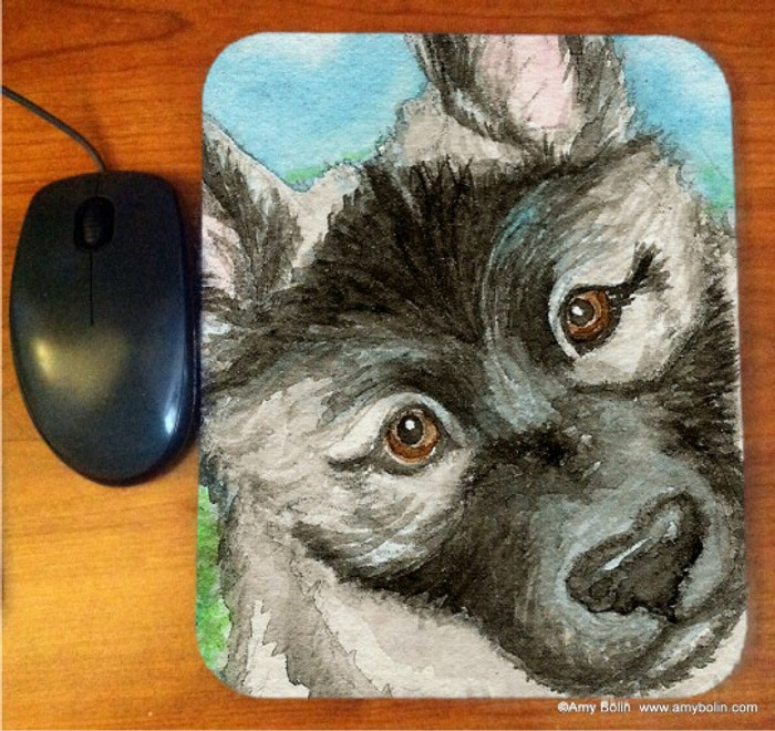 MOUSE PAD · PUPPY · NORWEGIAN ELKHOUND · AMY BOLIN