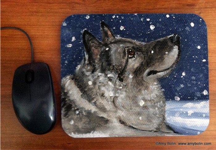 MOUSE PAD · SENJA'S SNOW DAY · NORWEGIAN ELKHOUND · AMY BOLIN