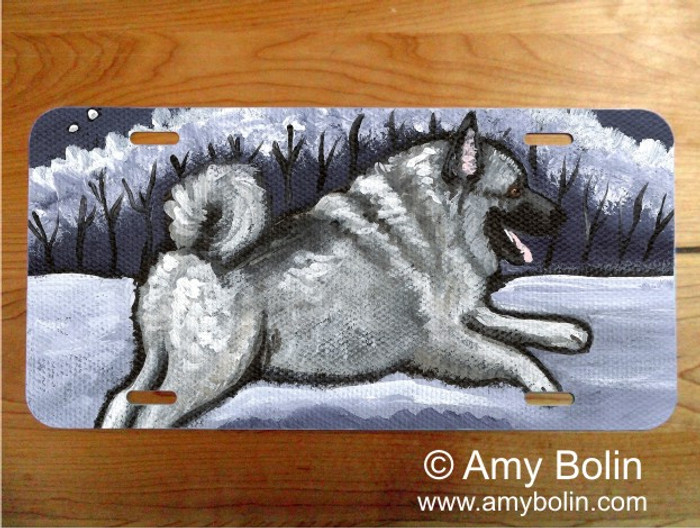 LICENSE PLATE · WINTER WONDERLAND · NORWEGIAN ELKHOUND · AMY BOLIN