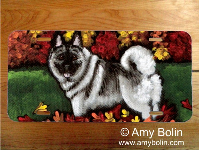 LICENSE PLATE · CHASING LEAVES · NORWEGIAN ELKHOUND · AMY BOLIN