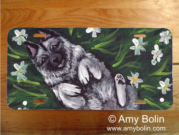 LICENSE PLATE · HAPPINESS IS A FIELD OF DAISIES · NORWEGIAN ELKHOUND · AMY BOLIN