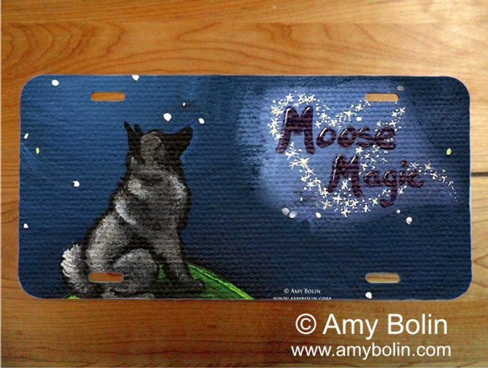 LICENSE PLATE · MOOSE MAGIC · NORWEGIAN ELKHOUND · AMY BOLIN