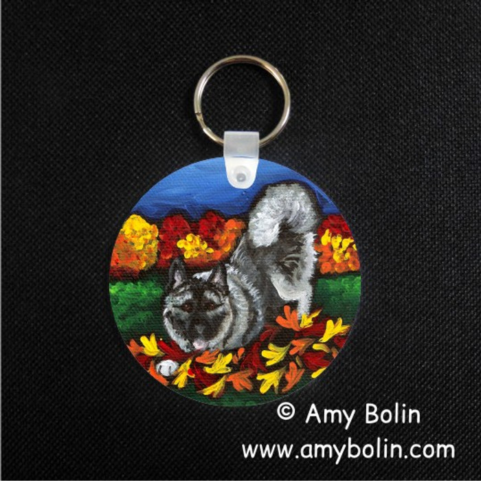 KEY CHAIN · AUTUMN'S SIMPLE PLEASURES · NORWEGIAN ELKHOUND  · AMY BOLIN