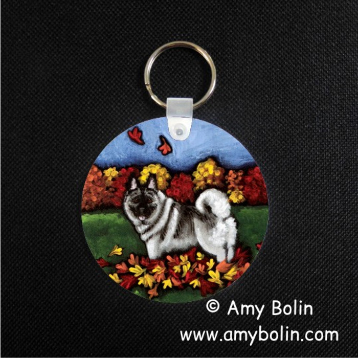 KEY CHAIN · CHASING LEAVES · NORWEGIAN ELKHOUND  · AMY BOLIN