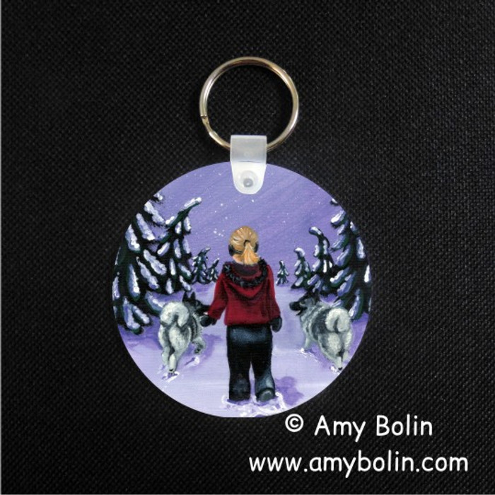 KEY CHAIN · A SNOWY WALK · NORWEGIAN ELKHOUND  · AMY BOLIN