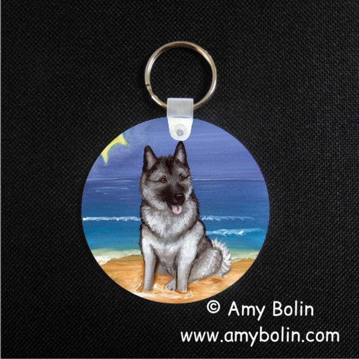 KEY CHAIN · BEACH BUM · NORWEGIAN ELKHOUND  · AMY BOLIN