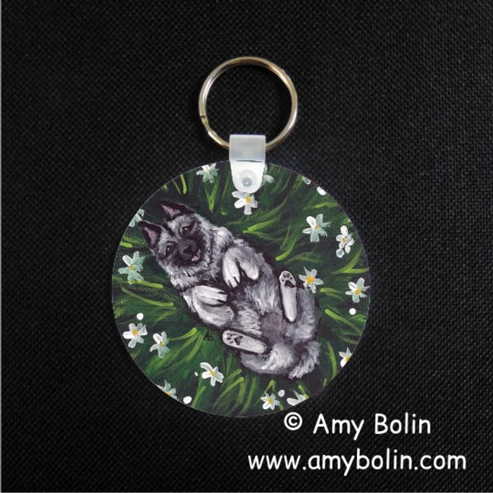 KEY CHAIN · HAPPINESS IS A FIELD OF DAISIES · NORWEGIAN ELKHOUND  · AMY BOLIN