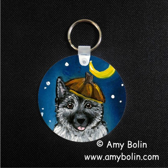 KEY CHAIN · HAPPY HOWLOWEEN · NORWEGIAN ELKHOUND  · AMY BOLIN