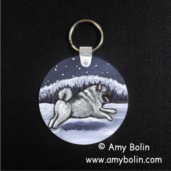 KEY CHAIN · WINTER WONDERLAND · NORWEGIAN ELKHOUND  · AMY BOLIN