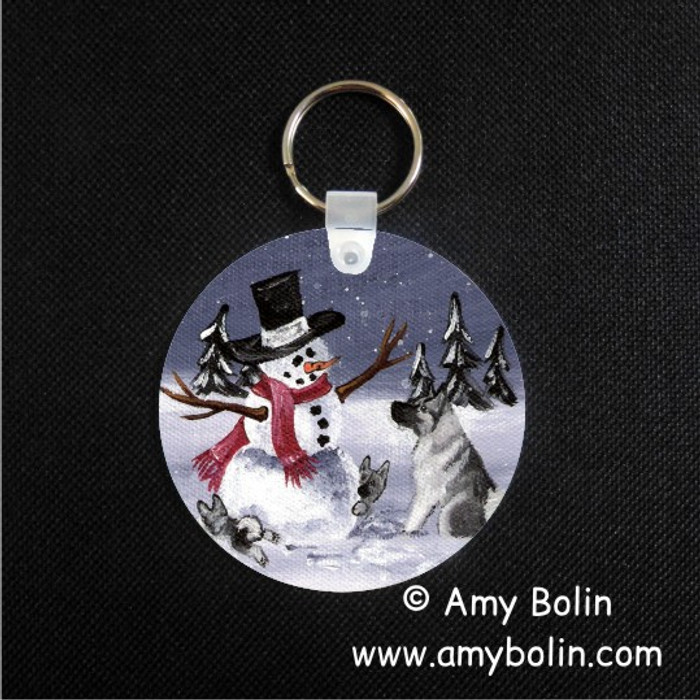 KEY CHAIN · HIDE AND SEEK · NORWEGIAN ELKHOUND  · AMY BOLIN