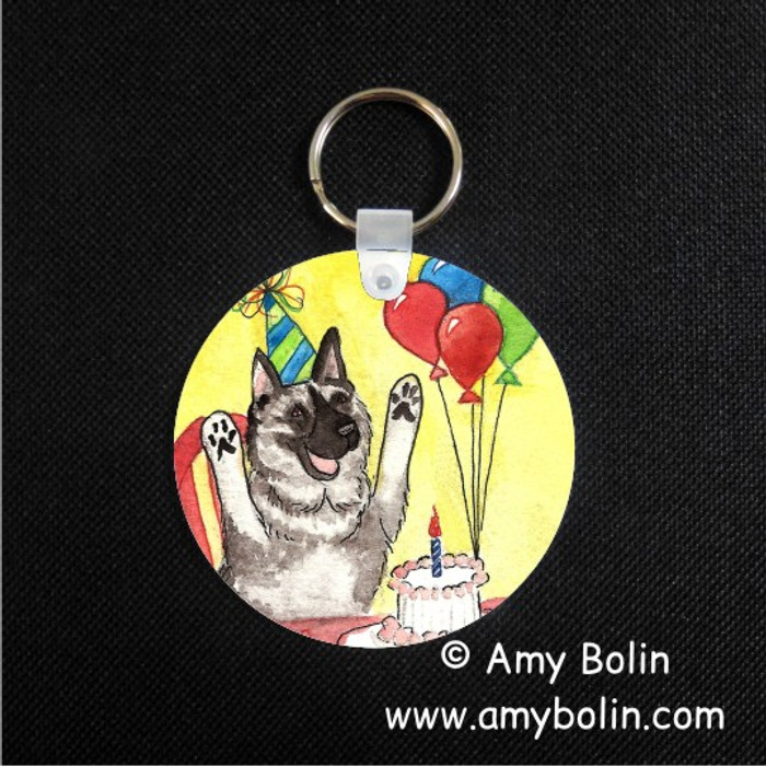 KEY CHAIN · IT'S MY PARTY · NORWEGIAN ELKHOUND  · AMY BOLIN
