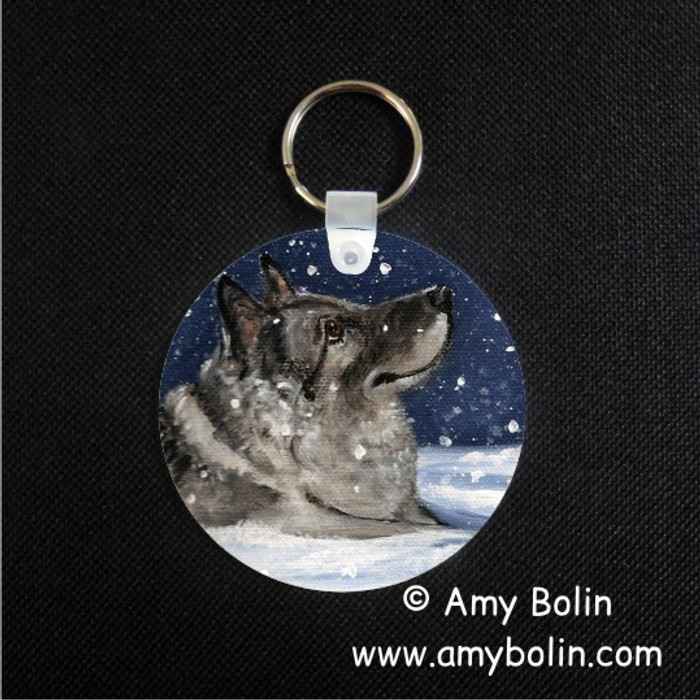 KEY CHAIN · SENJA'S SNOW DAY · NORWEGIAN ELKHOUND  · AMY BOLIN