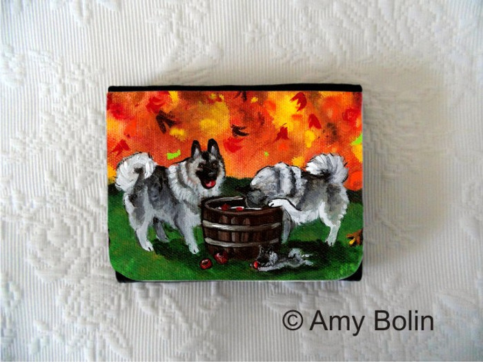 SMALL ORGANIZER WALLET · BOBBING FOR APPLES · NORWEGIAN ELKHOUNDS · AMY BOLIN