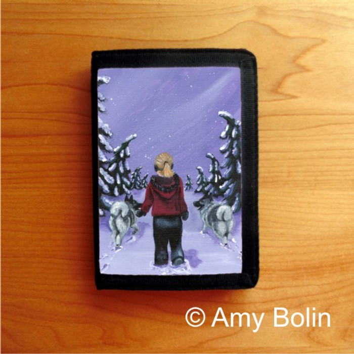 TRIFOLD WALLET · A SNOWY WALK · NORWEGIAN ELKHOUND  · AMY BOLIN