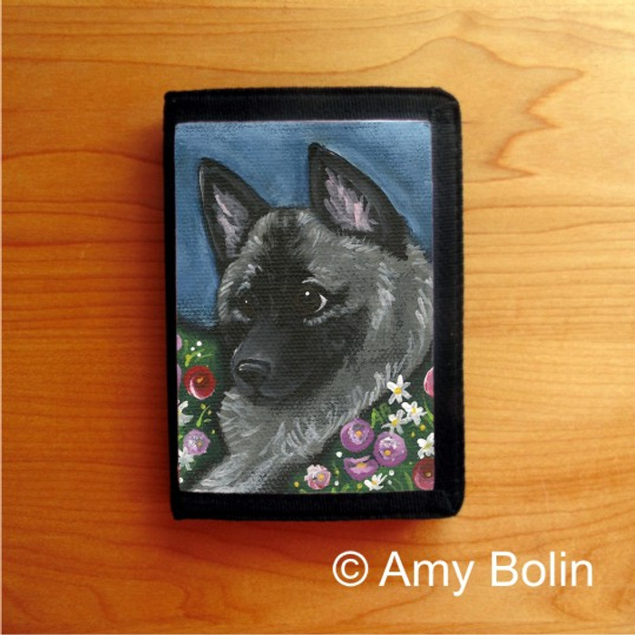 TRIFOLD WALLET · MOM'S FAVORITE DAISY · NORWEGIAN ELKHOUND  · AMY BOLIN
