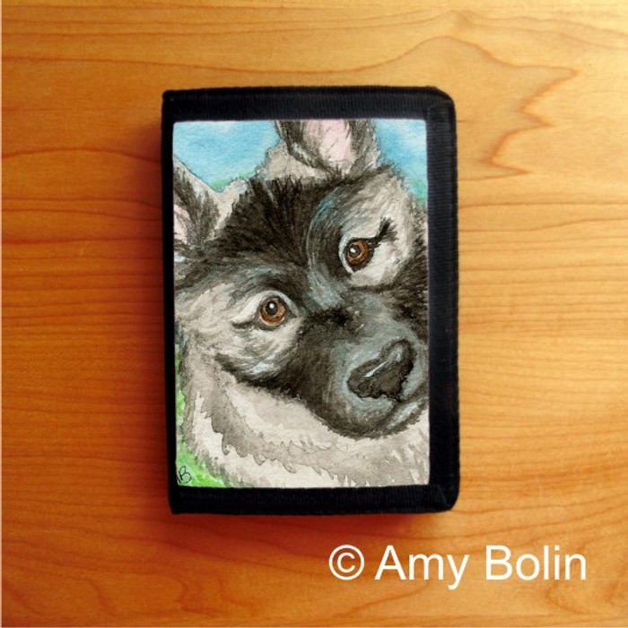 TRIFOLD WALLET · PUPPY · NORWEGIAN ELKHOUND  · AMY BOLIN