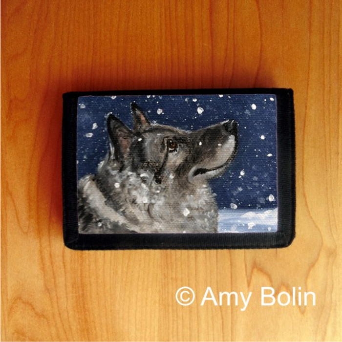 TRIFOLD WALLET · SENJA'S SNOW DAY · NORWEGIAN ELKHOUND  · AMY BOLIN