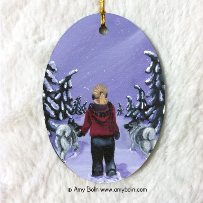 OVAL SHAPED CERAMIC ORNAMENT · A SNOWY WALK · NORWEGIAN ELKHOUND · AMY BOLIN