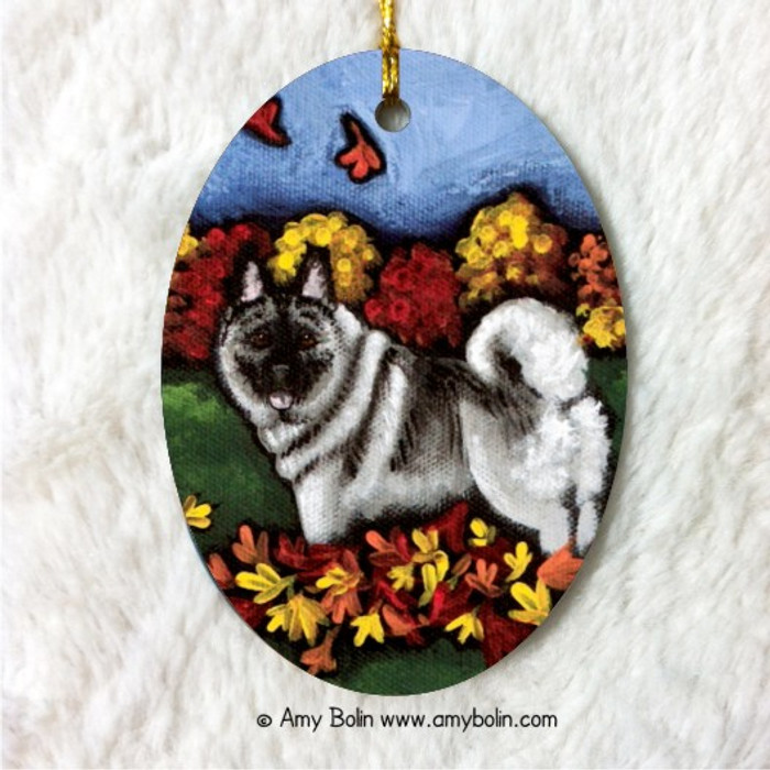 OVAL SHAPED CERAMIC ORNAMENT · CHASING LEAVES · NORWEGIAN ELKHOUND · AMY BOLIN