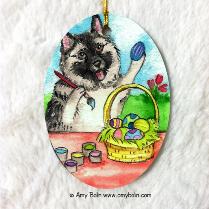 OVAL SHAPED CERAMIC ORNAMENT · EASTER EGG ARTIST· NORWEGIAN ELKHOUND · AMY BOLIN