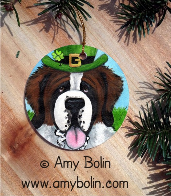 CERAMIC ORNAMENT · A BIG, WET IRISH KISS · SAINT BERNARD · AMY BOLIN