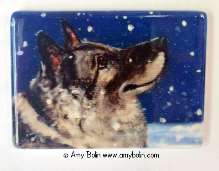 MAGNET · SENJA'S SNOW DAY · NORWEGIAN ELKHOUNDS · AMY BOLIN