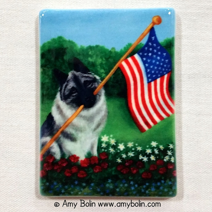 MAGNET · PROUD TO BE AMERICAN · NORWEGIAN ELKHOUND · AMY BOLIN