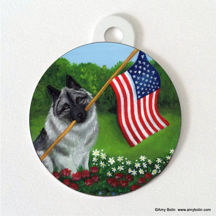 DOUBLE SIDED PET ID TAG · PROUD TO BE AMERICAN · NORWEGIAN ELKHOUND · AMY BOLIN