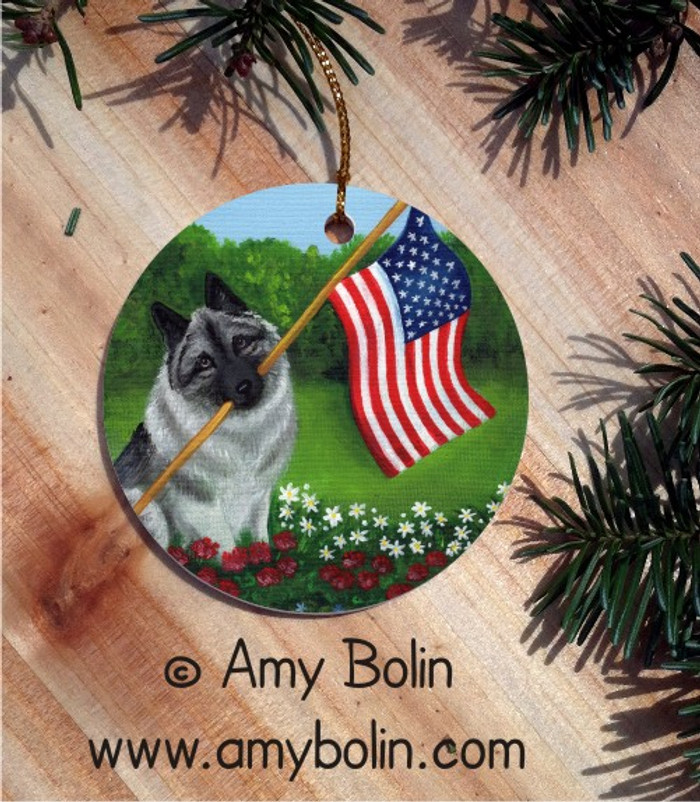 CERAMIC ORNAMENT · PROUD TO BE AMERICAN · NORWEGIAN ELKHOUND · AMY BOLIN