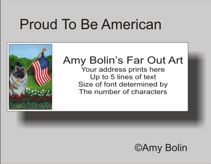 ADDRESS LABELS · PROUD TO BE AMERICAN · NORWEGIAN ELKHOUND · AMY BOLIN