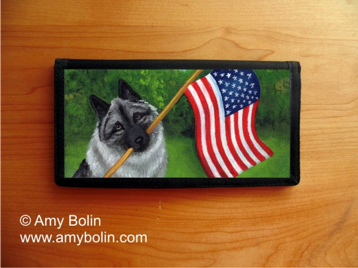 CHECKBOOK COVER · PROUD TO BE AMERICAN · NORWEGIAN ELKHOUND · AMY BOLIN