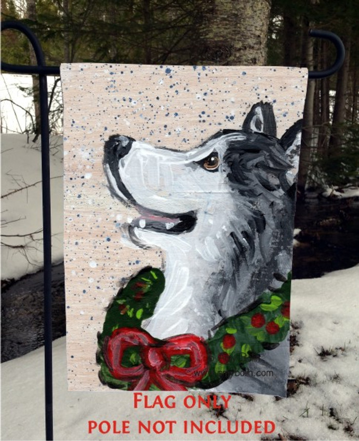 GARDEN FLAG · CHRISTMAS TRADITIONS · ALASKAN MALAMUTE · AMY BOLIN