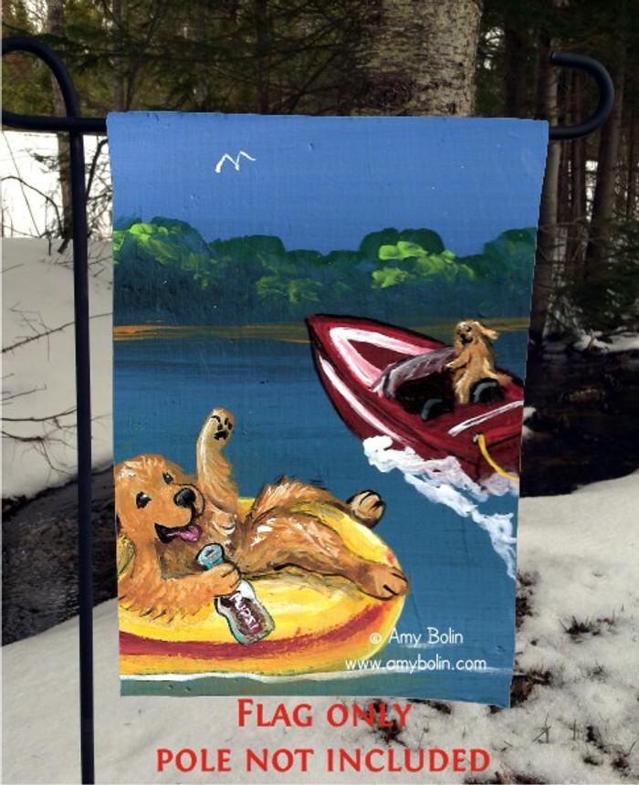 GARDEN FLAG · GOLDENS ON THE LAKE 1 · GOLDEN RETRIEVER · AMY BOLIN