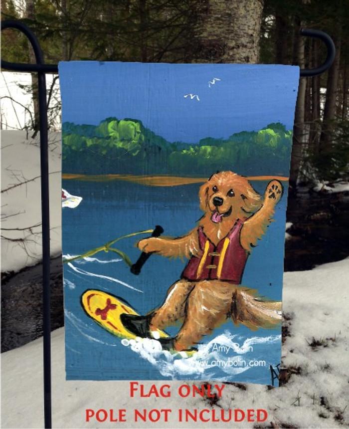 GARDEN FLAG · GOLDENS ON THE LAKE 2 · GOLDEN RETRIEVER · AMY BOLIN